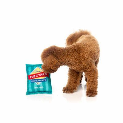FuzzYard Pawtato Chips Dog Toy with small dog